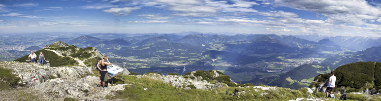 A panorama shot from the top of Mount Untersberg in Austria.  Click the photo to see a larger version of the file.